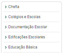 menu do site dos núcleos