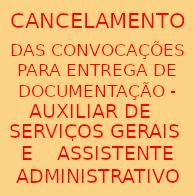 cancelamento PSS ADM e ASG 2018